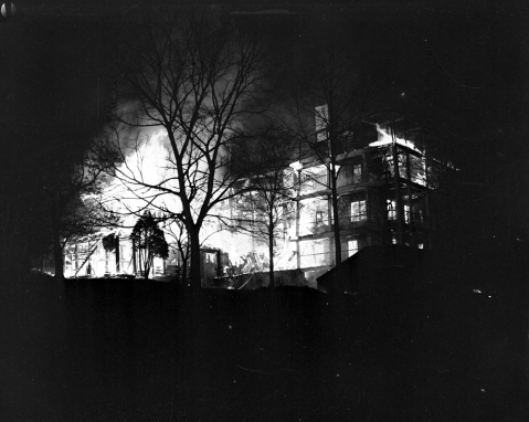 An Associated Press file photo of the fire engulfing Highand Hospital's central building.