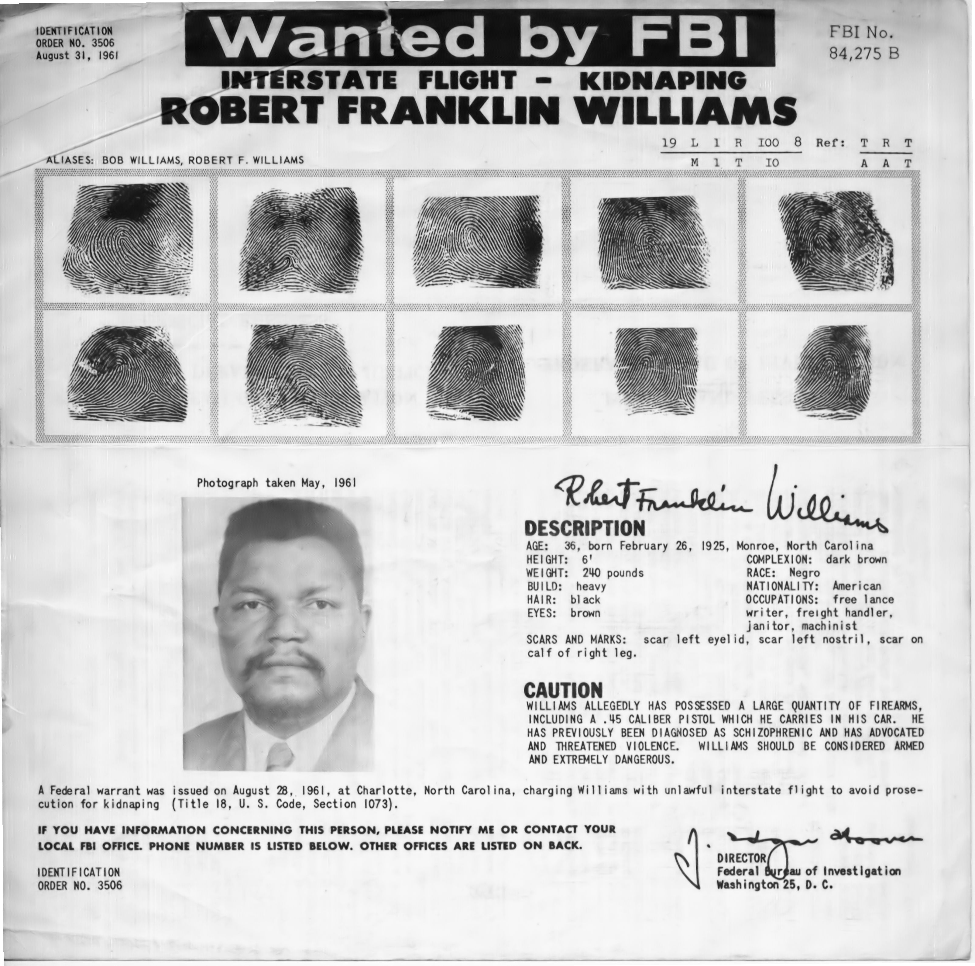"The FBI's ""Wanted"" poster for Williams. Image from the FBI."