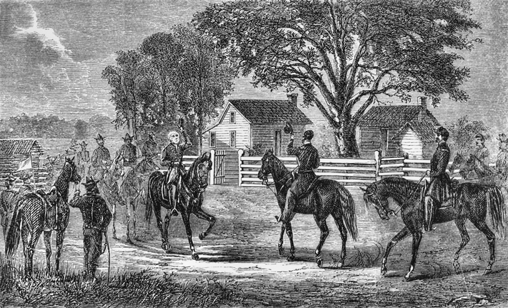 An engraving showing Johnston and Sherman meeting at Bennett Place. Image from the UNC-Chapel Hill Library.