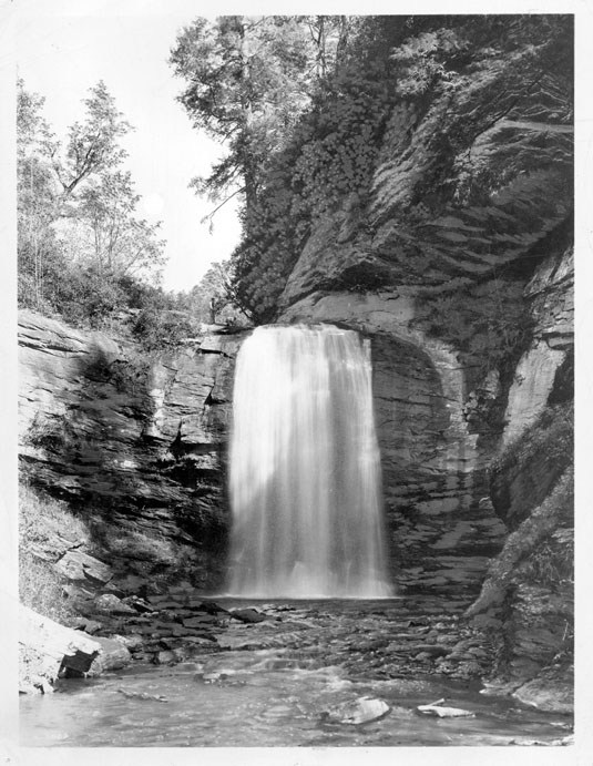 An image of Looking Glass Fall taken by Masa. Photo from the Buncombe County Public Library.