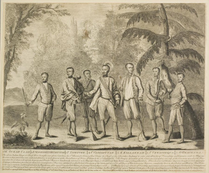 During their visit, an artist identified only as Markham painted a group portrait of the Cherokee representatives. The subsequent etching by Isaac Basire was widely distributed. This copy is held by MESDA.