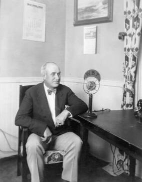 O. Max Gardner giving a radio address at WBT circa 1929-1933. This image is now held by the N.C. Museum of History