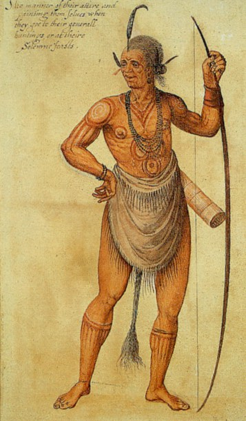 A 1585 watercolor of an Algonquin chief by John White