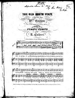 "Sheet music for ""The Old North State."" Image courtesy of the Library of Congress."