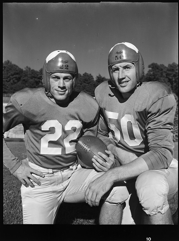 Justice with fellow Tarheel teammate Art Weiner in 1949. Image from the UNC-Chapel Hill Library