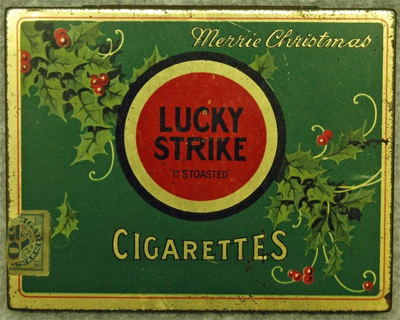A Lucky Strike Christmas tin, circa 1930-1941. Image from N.C. Historic Sites.