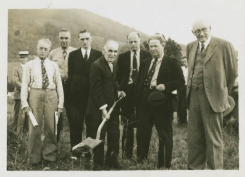 Congressman R.L. Doughton (far right) and others dedicate a hospital in Ashe County.