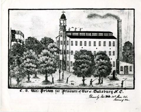 A sketch of Sailsbury Prison, now in the collection of the N.C. Museum of History