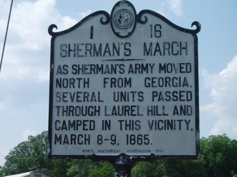As Sherman's army moved north from Georgia, several units passed through Laurel Hill camped in this vicinity March 8-9, 1865.