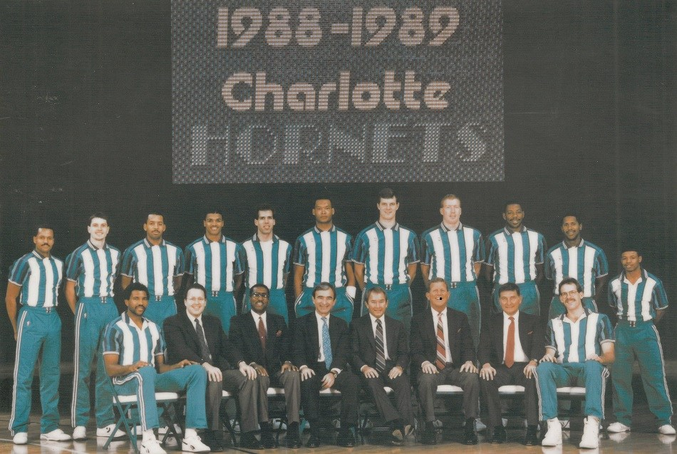 The first Charlotte Hornets team with their managers and coaches. Image from the Charlotte Hornets.