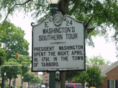Washington's Southern Tour - President Washington spent the night, April 18, 1791, in the town of Tarboro.