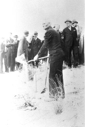 The groundbreaking of the memorial.