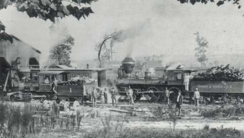 A&R's original yard in Aberdeen, circa 1900. Image from the Aberdeen and Rockfish Railroad Company.