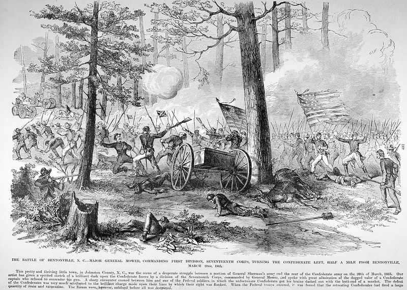 An illustration of the action at Bentonville. This sketch originally appeared in Frank Leslie's Illustrated Newspaper and is now held by the State Archives