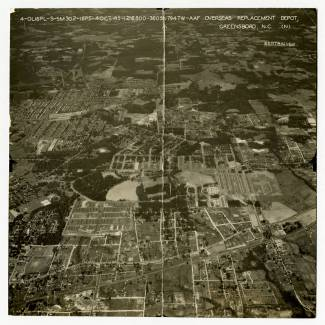 A circa 1943-45 aerial view of the O.R.D. Image from the Greensboro Historical Museum.