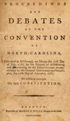 Proceedings and Debates of the Convention of 1788. Image from the UNC-Chapel Hill Library
