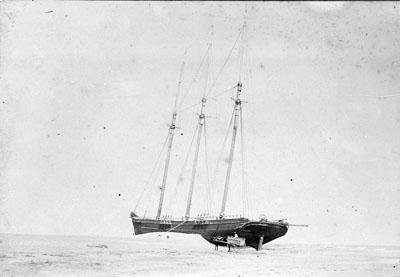 """Priscilla"" wreck near Cape Hatteras, circa 1899. Image from the State Archives."