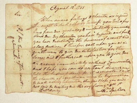 The August 12, 1788 letter Jackson sent to Avery challenging him to a duel. Image from the N.C. Museum of History.