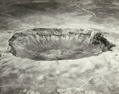 The Barringer Crater, circa 1920. Image from the  University of Southern California Libraries
