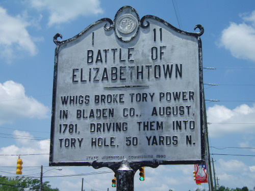 Battle of Elizabethtown - Whigs broke Tory power in Bladen Co., August 1781, driving them into Tory Hole, 50 yards N.