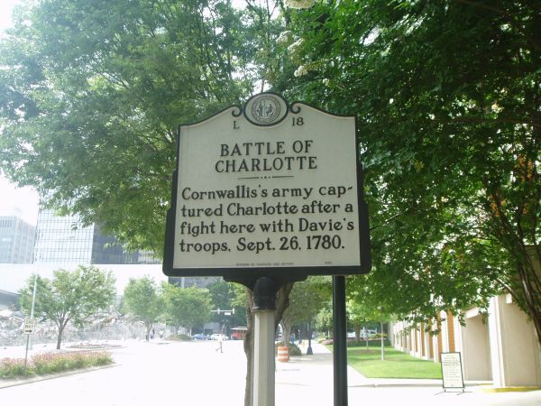 Battle of Charlotte - Cornwallis's army captured Charlotte after a fight here with Davie's troops. Sept. 26, 1780.