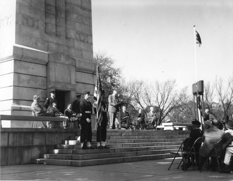 Governor R. Gregg Cherry speaks at the Belltower's dedication. Image from NCSU Libraries.