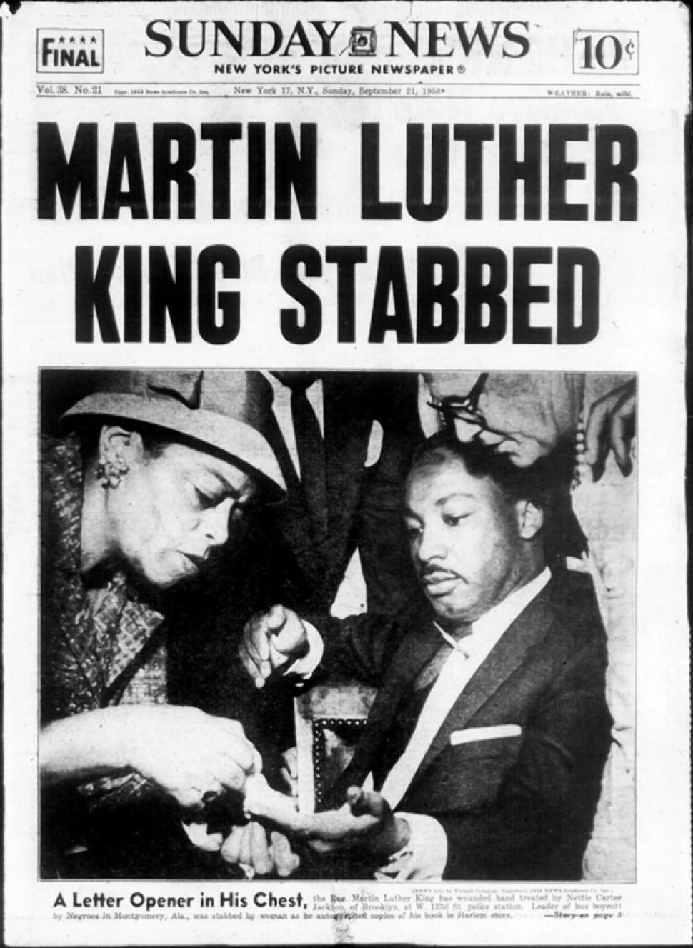 Newspaper report of the stabbing.
