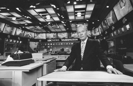 Brinkley in the newsroom of ABC's Washington, D.C. bureau, circa 1987. Image from UNC-Chapel Hill Libraries.