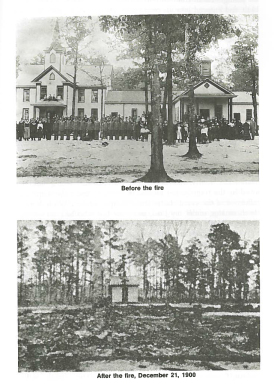 Before and after images of the fire damage at what's now Campbell University. Image from Campbell University Libraries.