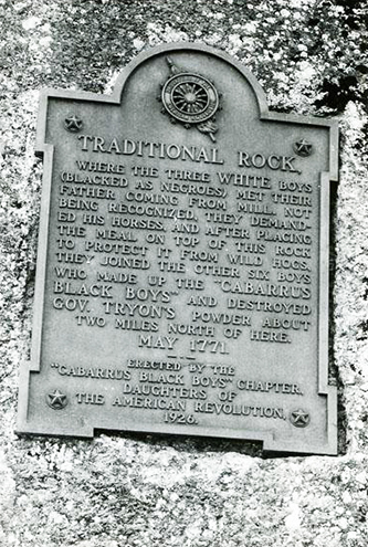 A marker in Concord honoring the Cabarrus Black Boys. Image from the N.C. Museum of History.