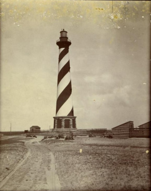 The Cape Hatteras Lighthouse, circa 1900-1920. Image from the N.C. Museum of History.