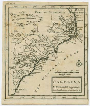 A map of North Carolina and the surrounding areas from the time period. Image from UNC-Chapel Hill Libraries.