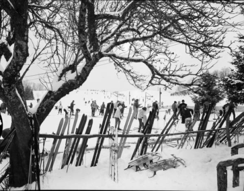 Skiing at Cataloochee in February 1964. Image from UNC-Chapel Hill Libraries.