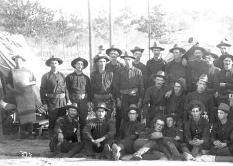 The Catawba County Boys, Company A, 1st North Carolina Regiment, pose beside a tent at Camp Cuba Libre in July 1898