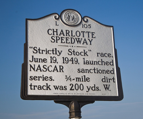 """Charlotte Speedway - """"Strictly Stock"""" race, June 19, 1949, launched NASCAR sanctioned series. 3/4~mile dirt track was 200 yds. W."""