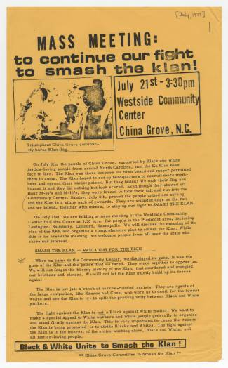 A flyer promoting a July 21, 1979 anti-Klan meeting in China Grove following the July 8 altercation. Image from the UNC Greensboro Libraries.