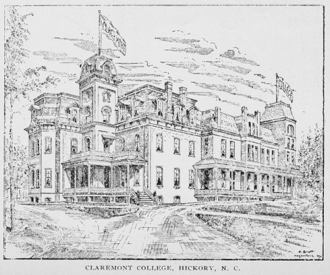 An 1898 sketch of Claremont College. Image from the State Library.