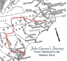 A map of Lawson's journey from Historic Bath