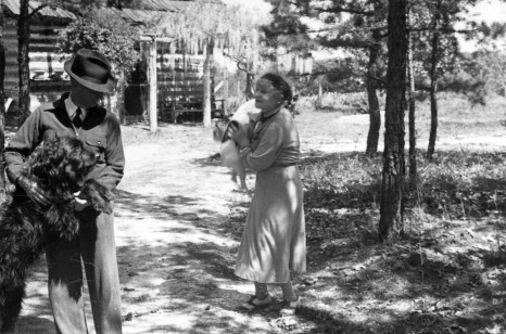 Jacques and Juliana Busbee outside Jugtown with their dogs in 1938. Image from the State Archives