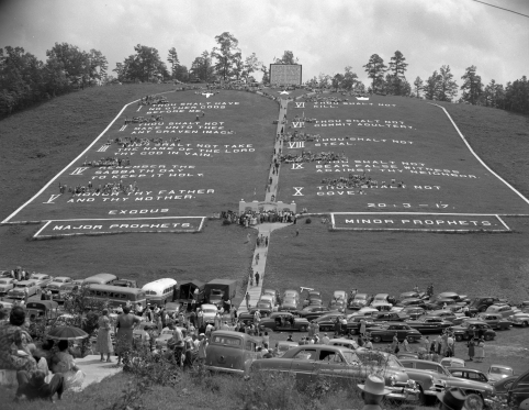 "The ""world's largest Ten Commandments"" that Tomlinson created near Murphy. Image from the State Archives"