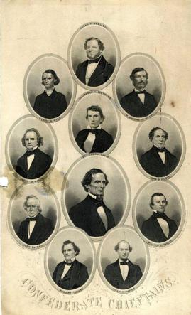 A circa 1860-1880 composite image of the Confederate Cabinet now held by the N.C. Museum of History