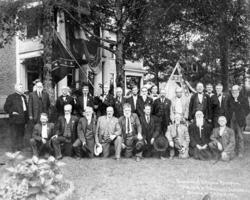 A gathering of Civil War veterans in Brevard, circa 1911. Image from the N.C. Museum of History.