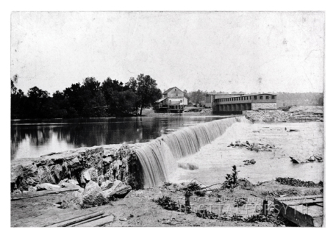 Idol's Dam and Fries Power Station, circa 1898-1900. Image from the Digital Forsyth.