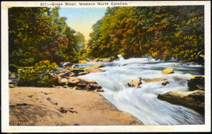A postcard of the Green River. Image from the Buncombe County Public Library.