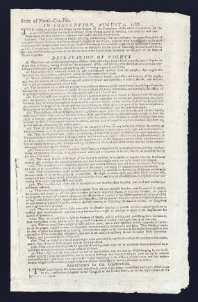 A Declaration of Rights document adopted by the North Carolina's Constitutional Convention of 1788. Image from the Library of Congress.