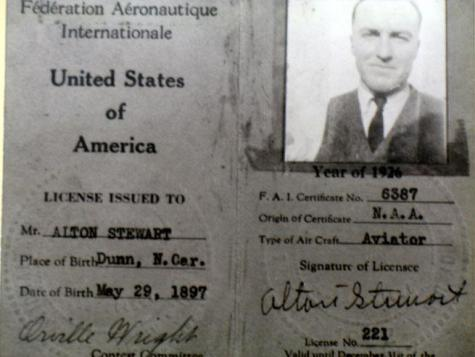 A pilot's license issued to Stewart and signed by Orville Wright.  Image from the N.C. Museum of History.