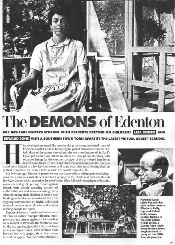 The first page of a 1993 story on the Little Rascals case that appeared in Elle Magazine.