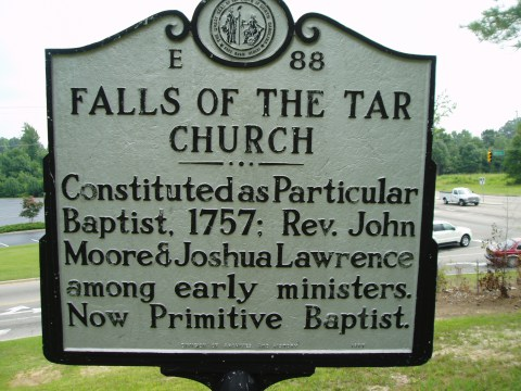 A highway marker commemorating the Falls of the Tar Church, where Lawrence was pastor.