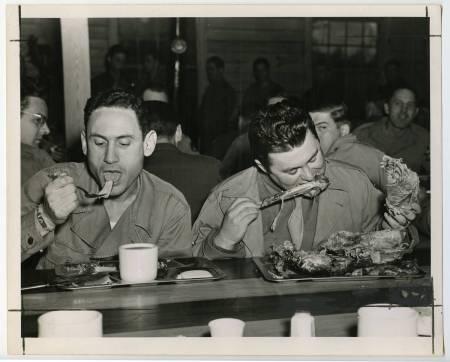 Eating in one of the O.R.D.'s dining halls, circa 1943-45. Image from the Greensboro Historical Museum.