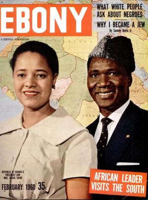 The Tourés' visit featured on the cover of February 1960's Ebony Magazine. Image from Ebony Magazine.